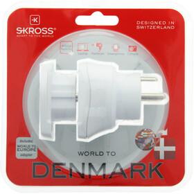 SKROSS Combo Adaptador de enchufe Mundo a Dinamarca